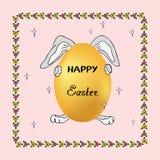 Illustrazione di coniglio e dell'uovo divertenti in vacanza, fumetto per decorare le cartoline d'auguri in onore della resurrezio royalty illustrazione gratis