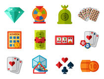 Illustrazione di conquista di slotbvector del burlone delle roulette del black jack di simboli del giocatore del poker delle icon Immagine Stock