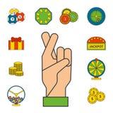 Illustrazione di conquista di slotbvector del burlone delle roulette del black jack di simboli del giocatore del poker delle icon Fotografia Stock Libera da Diritti
