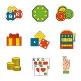 Illustrazione di conquista di slotbvector del burlone delle roulette del black jack di simboli del giocatore del poker delle icon Fotografia Stock