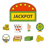 Illustrazione di conquista di slotbvector del burlone delle roulette del black jack di simboli del giocatore del poker delle icon Immagine Stock Libera da Diritti