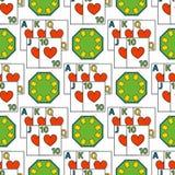 Illustrazione di conquista di slotbvector del burlone delle roulette del modello di simboli del giocatore del poker del gioco del Fotografia Stock Libera da Diritti