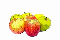 Illustrazione di contorno dell'acquerello delle mele Fotografie Stock