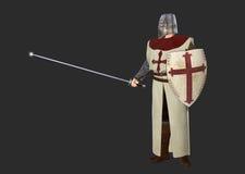 Illustrazione di Crusader Dark Background del cavaliere Fotografia Stock Libera da Diritti