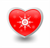 Illustrazione di cuore e del fiocco di neve Fotografie Stock