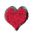 Illustrazione di Digitahi di un cuore rotto frantumato contro un bianco Immagini Stock