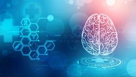 Illustrazione di Digital della struttura del cervello umano, fondo creativo di concetto del cervello, fondo dell'innovazione illustrazione vettoriale