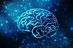 Illustrazione di Digital della struttura del cervello umano, fondo creativo di concetto del cervello, fondo dell'innovazione, bac Immagine Stock Libera da Diritti
