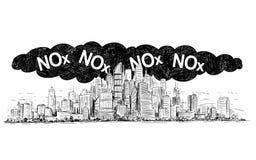Illustrazione di disegno artistica di vettore della città coperta inquinamento atmosferico da ossidi di azoto e dello smog o di N illustrazione vettoriale