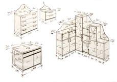 Illustrazione di disegno a mano libera moderna di disegno interno. Immagini Stock Libere da Diritti