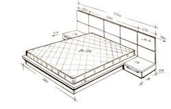 Illustrazione di disegno a mano libera moderna di disegno interno. Fotografia Stock