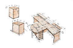 Illustrazione di disegno a mano libera moderna di disegno interno. Fotografia Stock Libera da Diritti