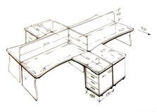 Illustrazione di disegno a mano libera moderna di disegno interno. Immagine Stock Libera da Diritti