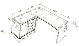 Illustrazione di disegno a mano libera moderna di disegno interno. Immagini Stock