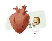 Illustrazione di divertimento di un medico che esamina un grande cuore Immagine Stock Libera da Diritti