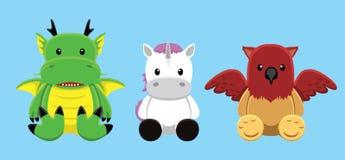 Illustrazione di Dragon Griffin Unicorn Doll Set Cartoon Vector Fotografie Stock Libere da Diritti