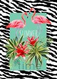 Illustrazione di estate dell'acquerello delle piante tropicali e del fenicottero Fotografia Stock