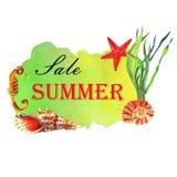Illustrazione di estate dell'acquerello Insegna di vendita con i pesci e le coperture illustrazione vettoriale