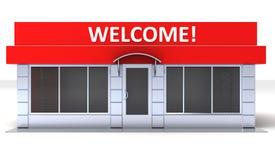 Illustrazione di esterno del chiosco del minimarket o del negozio illustrazione vettoriale