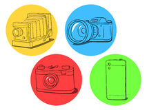Illustrazione di evoluzione della macchina fotografica Immagini Stock