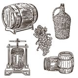 Illustrazione 1 di fabbricazione di vino illustrazione vettoriale