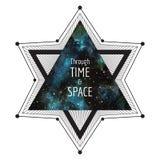 Illustrazione di fantascienza Grande stella con il triangolo del cielo notturno dell'acquerello illustrazione vettoriale