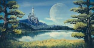 Illustrazione di fantasia dell'acquerello di un lago naturale della riva del fiume Immagini Stock