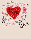 Illustrazione di festa della mamma, stile di lerciume, vettore Fotografie Stock