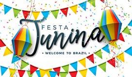 Illustrazione di Festa Junina con le bandiere del partito e la lanterna di carta su fondo bianco Progettazione di festival del Br illustrazione vettoriale