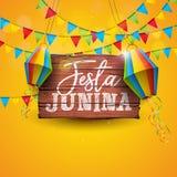 Illustrazione di Festa Junina con le bandiere del partito e la lanterna di carta su fondo giallo Progettazione di festival del Br illustrazione vettoriale