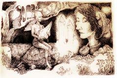 Illustrazione di fiaba, creatura di cristallo che guida una tartaruga Immagini Stock