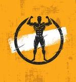 Illustrazione di Fitness Workout Rough dell'atleta dell'uomo forte Concetto creativo del manifesto di lerciume di vettore Fotografia Stock Libera da Diritti