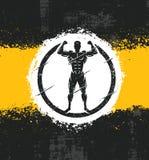 Illustrazione di Fitness Workout Rough dell'atleta dell'uomo forte Concetto creativo del manifesto di lerciume di vettore Immagini Stock