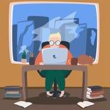 Illustrazione di funzionamento umano sul computer portatile illustrazione vettoriale