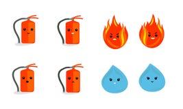 Illustrazione di fuoco e di acqua Fotografia Stock