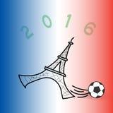 Illustrazione di giocar a calcioe della torre Eiffel Fotografia Stock Libera da Diritti