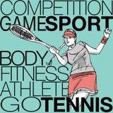 Illustrazione di giocar a tennise della donna Immagine Stock