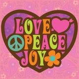 illustrazione di gioia di pace di amore 70s Immagine Stock Libera da Diritti