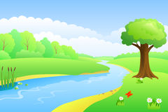 Illustrazione di giorno del paesaggio di estate del fiume Immagine Stock