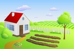 Illustrazione di giorno del paesaggio di estate della casa estiva Fotografia Stock