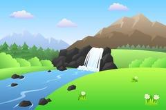 Illustrazione di giorno del paesaggio di estate delle montagne della cascata del fiume Fotografie Stock