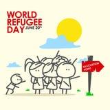 Illustrazione di giorno del rifugiato Fotografia Stock