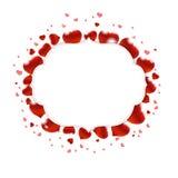 Illustrazione di giorno di biglietti di S. Valentino con i cuori rossi Fotografia Stock