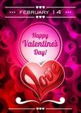 Illustrazione di giorno di biglietti di S. Valentino con lo spazio del testo ed il cuore di amore Immagini Stock