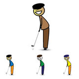 Illustrazione di giovane club della tenuta del ragazzo (bambino) che gioca il gioco di golf Fotografia Stock