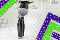 illustrazione di graduazione dell'uomo 3d Fotografie Stock Libere da Diritti