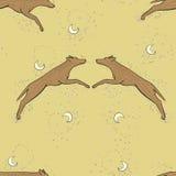 Illustrazione di groviglio di zen del lupo di vettore Oroscopo cinese 2018 - anno del cane della terra Cielo con la luna e le ste illustrazione di stock
