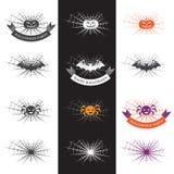 Illustrazione di Halloween con gli elementi di logo Fotografia Stock Libera da Diritti