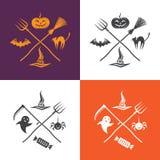 Illustrazione di Halloween con gli emblemi Immagine Stock