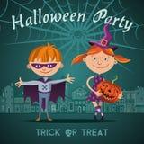 Illustrazione di Halloween con i bambini Fotografia Stock Libera da Diritti